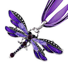 Charms Classic retro Dragonfly Necklace With Chain Rhinestone Inlay Gemtone