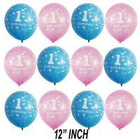 """Pink Girl's Blue Boy's 1st Birthday Party Pearlised 12"""" Latex Printed Ballons UK"""