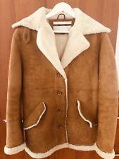 TOPSHOP Premium Real leather Shearling Fur Car Coat unique RRP £250 UK 12 EU 40