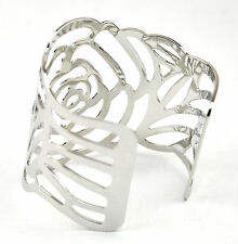 Platinum Plated Hollowed-out Rose Pattern Bangle Bracelet Open Ended Cuff