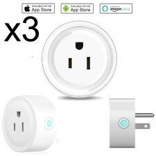 3x Smart Socket Mini WiFi US Plug Switch work w Echo Alexa Google Home Remote