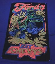 """vintage 1970S """"FORDS EAT CHEVYS"""" BLACK LIGHT POSTER ford/chevy 32 X 21"""" 70S RARE"""