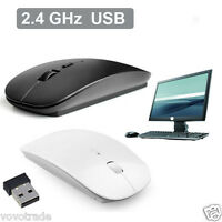 Ultra Slim 2.4 GHz Optical Wireless Mouse Mice   USB Receiver For Laptop PC Mac