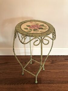 Accent Table, Handpainted Metal with French Country Roses