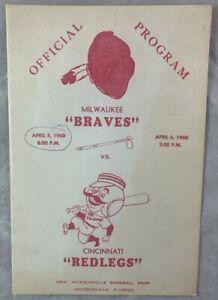 April 6 1960 Milwaukee Braves v Cincinnati Redlegs Baseball Program Jacksonville