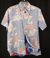 Pomare Hawaiian Camp Aloha Shirt Reverse Print Red Hibiscus Blue White USA Sz M