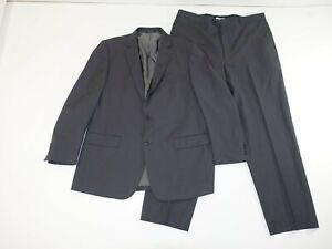 Pronto Uomo Men's 2 Button Suit Size 46 X-Long 41 x 32 Gray Striped 100% Wool