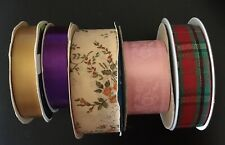 Vintage Ribbon Set Of 5 Total 163 Feet Floral Christmas Pink Gold Purple NEW