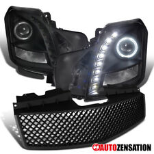 2003-2007 Cts Smd Led Halo Projector Headlights + Favo De Mel Preto HOOD Grille