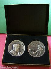 Rare John F. Kennedy+Francis Scott Key Brushed Sterling Silver Medallion Set