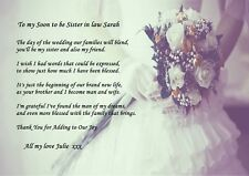 VINTAGE PERSONALISED TO MY SISTER IN LAW ON MY WEDDING POEM IDEAL TO FRAME A4