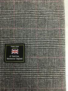 Gris Príncipe De Gales a Cuadros 100% Lana Suit / Tela Chaqueta 340g