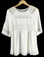 Pale Sky Levana Crochet Detail Top Women's Size Large White Blouse Daniel Rainn