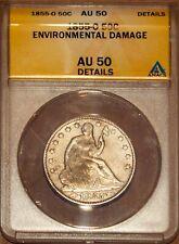 1855-O Silver Seated Liberty Half-dollar AU 50 Details ANACS 4416410 + Bonus