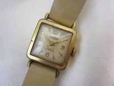 *MH519* Kleine antike Zentra DAU Damenuhr vergoldet Handaufzug mit Lederband