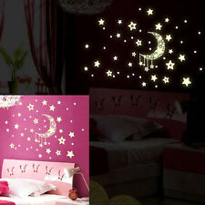 Glow In The Dark Wall Stickers Home Bedroom Decor Luminescent Moon Stars Hot