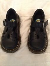 Dr Doc Martens Girls Mary Jane Shoes Black Leather Strap Buckle Sz 8 US - UK 7