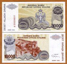 Croatia, Knin 10,000 (100000) Dinara, 1994, P-R31, UNC > Bosnian War