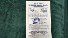 Lionel # 480-25 Magnetic Coupler Instructions Photocopy
