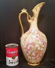 1890 ROYAL BONN orchid flower painting vtg ewer antique german porcelain pitcher