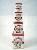 Vintage Tins Old New stock 1980's BLACK COW DAIRY Nesting Tins