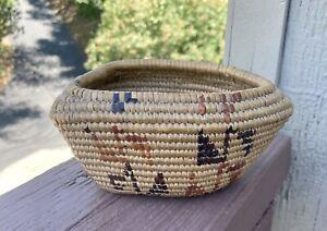 Vintage Native American Indian Boat Shaped Basket Coiled