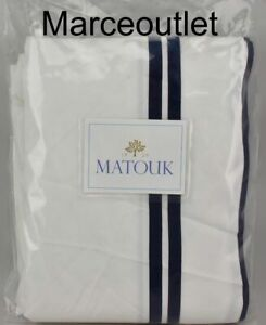 Matouk River 500 Thread Count Cotton FULL  / QUEEN Flat Sheet White / Navy