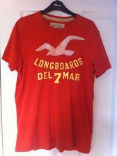 Da Uomo Hollister Arancione T-Shirt Cotone a Maniche Corte-Taglia Large L