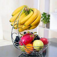 2 in 1 Chrome Fruit Bowl Basket & Banana Hook Hanger Stand Holder Apple Orange