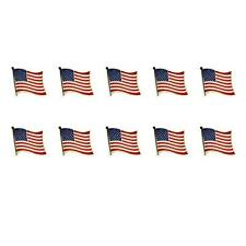 "LOT OF 10 AMERICAN FLAG LAPEL PINS 0.5"" United States USA Hat Tie Tack Badge Pin"