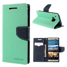 Korean Mercury Fancy Diary Wallet Case Cover for HTC One M9 - Green