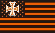 LIVE TO RIDE 3' x 5' FLAG/BANNER/ IN HARLEY DAVIDSON COLORS-FREE SHIPPING!!!!!!!