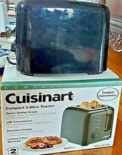 """Cuisinart 2 Slice Compact Toaster Wide 1.5"""" Slot Black Finish Cpt-120Bk"""
