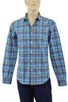 $295 BURBERRY Brit Sky Blue Check Plaid Casual Dress Men's Shirt NEW COLLECTION