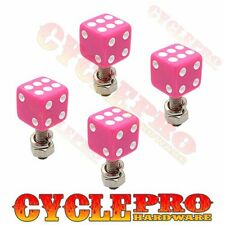 4 Pink Real Dice White Dot License Plate Frame Tag Bolts Screws for Harley