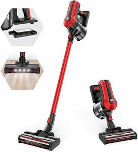 MOOSOO K23 Cordless Vacuum, 300W Powerful Stick Vacuum, 5 Stages Filtration Red