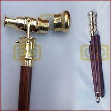 "36"" Foldable Nautical Walking Stick W/ Solid Brass Telescope (3 Folds) Xmas Gift"