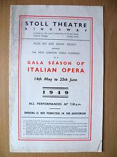 1949 Stoll Threare Programme: LA BOHEME, Opera by PUCCINI (Italian Opera)