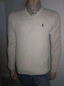 Polo Ralph Lauren Cream Wool V-Neck Sweater Navy Blue Pony NWT L