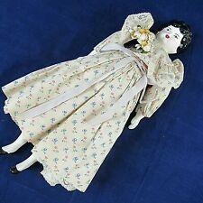 "Vintage China Head Doll Cloth Body 14""  Repro Black Hair Blue Eyes Dress Vintage"
