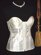 USA 34C Front Zip Back Lace White Glossy Satin Bustier Corset Strapless