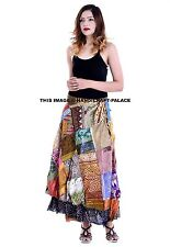 Long Boho Patchwork Gypsy Wrap Around Skirt 100% Silk Made in India Free Size