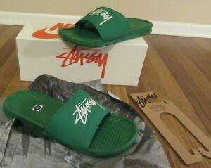 Nike Benassi Stussy Slides Size 11 Pine Green DC5239 300 Brand New Free U.S. S&H