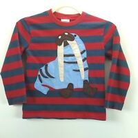 Mini Boden Walrus Shirt Boys Size 5-6 Y Red Gray Stripes Long Sleeves