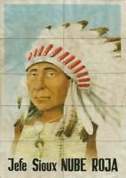 """MAGNIFICENT ORIGINAL VINTAGE SILK SCREEN POSTER OF CHIEF RED CLOUD (8"""" x 12"""")"""