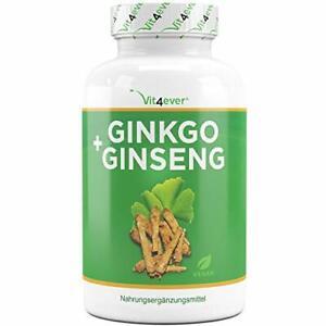 Ginkgo + Ginseng coréen  -  Hautement dosé   Qualité supérieure - Végétalien