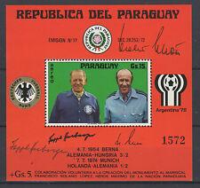 155PARAGUAY 1976 Block 269 mit ORIGINALAUTOGRAMMEN von Herberger und Schön