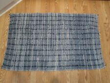 "Vintage Rag rug carpet handmade runner denim blue tones country farmhouse 46"" L"
