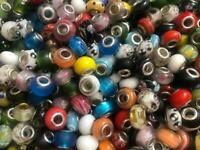 MEGA LOT 100 PERLES RONDELLES DONUTS VERRE SOCLE 14MMx10MM MULTICOLORE MIX *DU1