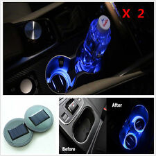 2X Solar Cup Holder Bottom Pad LED Lights Cover Trim Atmosphere Lamp For All Car